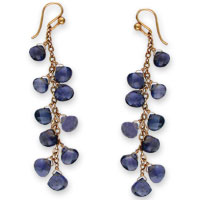 iolite briolette danglers in gold-fill
